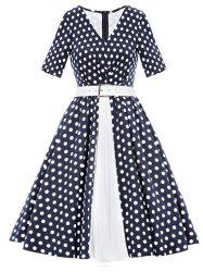 Vintage Polka Dot Belted Flare Dress