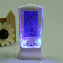 Calendar Temperature LCD Digital Alarm Clock - WHITE