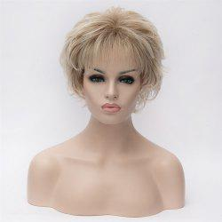 Dark Root Full Bang Tilt Short Wavy Heat Resistant Synthetic Hair Noble Elegant Women's Blonde Bouffant Wig - COLORMIX