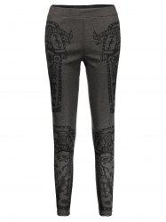 High Waist Printed Leggings - DEEP GRAY