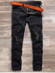 Destroyed PU Leather Spliced Jeans