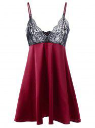 Lace Trim Scalloped Edge Babydoll - WINE RED