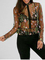 Floral Embroidered Semi Sheer Peplum Blouse - BLACK