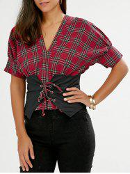 Lace Up Smocked Plaid Blouse
