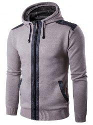 Zip Up Suede Insert Knitted Hoodie
