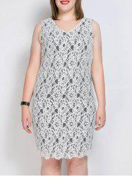Plus Size V Neck Lace Scalloped Pencil Dress