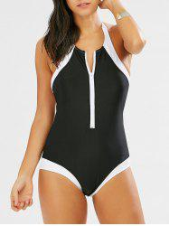 Halter Half Zip Two Tone Swimsuit - Noir