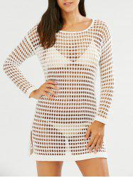 Slit Crochet Long Sleeves Cover-Up - WHITE