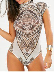 Sheer High Neck Geometric Print Romper -