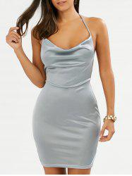 Tight Halter Open Back Mini Club Bodycon Dress - FROST