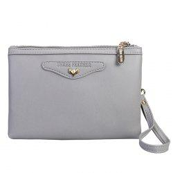 Faux Leather Wristlet Clutch Bag - GRAY