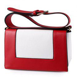 Wide Strap Color Block Crossbody Bag - RED