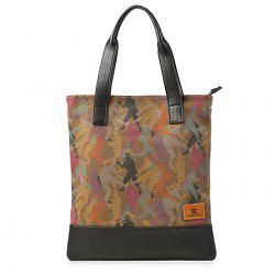 Contrast PU Leather Print Canvas Tote Bag