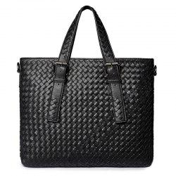 Buckle Straps Woven Tote Bag
