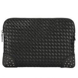 Woven Faux Leather Rivet Clutch Bag