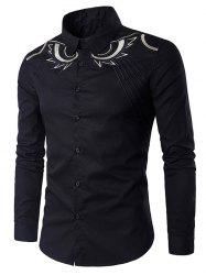Long Sleeve Abstract Embroidery Shirt