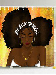 Hip Hop Afro Hair Queen Shower Curtain - COLORMIX