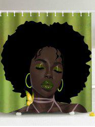 Afro Hair Lady Immersed In Her Own World Shower Curtain - COLORMIX