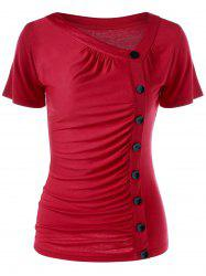 Ruched Single Breasted T-Shirt