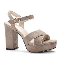 Chunky Heel Cross Strap Sandals -