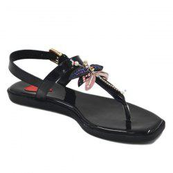Patent Leather Faux Pearls Sandals