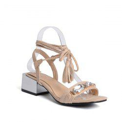 Tassels Lace Up Rhinestones Sandals