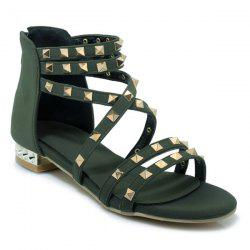 Cross Strap Metal Rivets Sandals -
