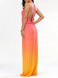 Ombre Plunge Long Backless Cocktail Maxi Dress