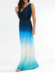 Ombre Plunge Long Backless Maxi Dress - BLUE