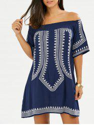 Embroidered Off The Shoulder Summer Shift Dress - CADETBLUE