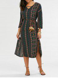 Split Tribal Print Bohemian Dress - PURPLISH BLUE