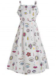 Sleeveless Eye Printed Vintage Dress
