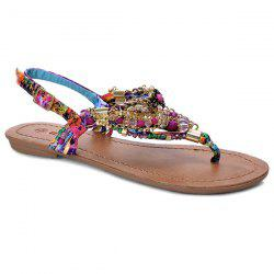 Beads Chains Floral Print Sandals
