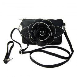 Cross Body Flower Wristlet Bag - BLACK