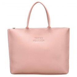 Faux Leather Letter Embossed Tote Bag - PINK
