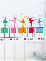 Removable Piano Dancing Girl Wall Sticker