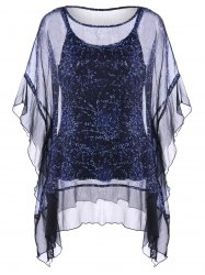 Ruffle Dolman Sleeve Plus Size Sheer Blouse With Camisole Top -