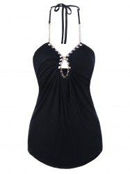 Chains Decorated Cut Out Halter Tank Top - BLACK
