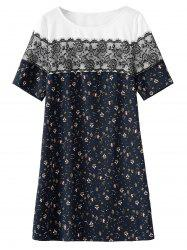 Plus Size Lace Trim Print Dress