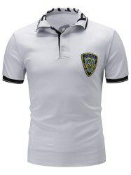 Badge Color Block Rib Panel Graphic Print Polo T-Shirt