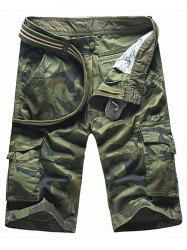 Zipper Fly Camouflage Pockets Cargo Shorts