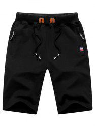 Zip Up Pockets Lace Up Sweat Shorts - BLACK