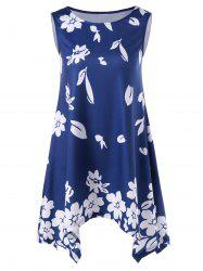 Asymmetric Floral Tank Top - BLUE