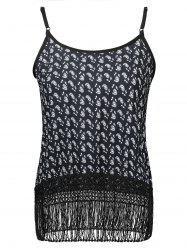 Spaghetti Strap Fringed Printed Tank Top