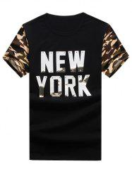 Metal Graphic Applique Camouflage Panel T-Shirt