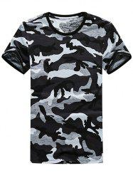 Stretchy Crew Neck Cotton Camouflage T-Shirt