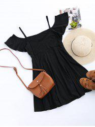 Cold Shoulder Skater Mini Casual Beach Dress - BLACK