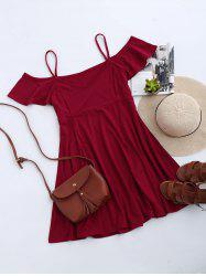 Cold Shoulder Skater Mini Casual Beach Dress - RED