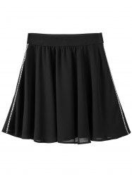 Plus Size Chiffon A Line Skirt - BLACK