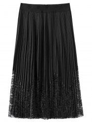 Plus Size Lace Trim Pleated Skirt